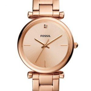 FOSSIL ES4441 HORLOGE CARLIE STAAL ROSEKLEURIG 36 MM