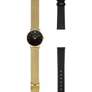 Cluse Gift box Minuit Special Mesh Gold Colour & Leather Strap