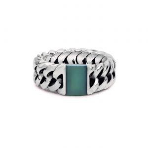 BUDDHA TO BUDDHA Chain ring Stone Green Chalcedony