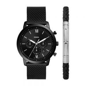 Fossil FS5786SET Neutra horloge Zwarte heren chronograaf met gratis armband