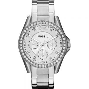 Fossil ES3202 Riley Zilver Multifunctie Dameshorloge met Kristallen