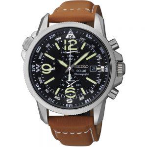 Seiko Prospex SSC081P1 Solar horloge Staal & Zwarte Chrono op Zonne-energie met Datum & Kompas