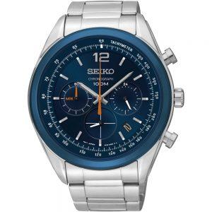 Seiko Quartz SSB091P1 Chrono horloge Grote Moderne Staal Chrono met Datum & Blauwe Ring